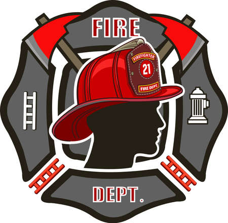 Fire Department Cross includes fireman's helmet with badges and firefighter's crossed axes