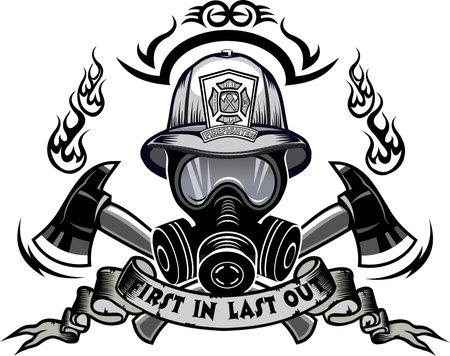 Firefighter Tattoo. Fireman helmet and cross ax Vektorgrafik