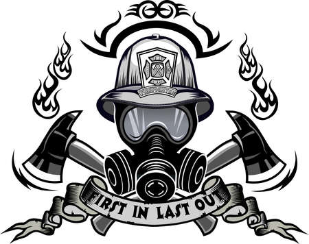 Firefighter Tattoo. Fireman helmet and cross ax Vector Illustratie