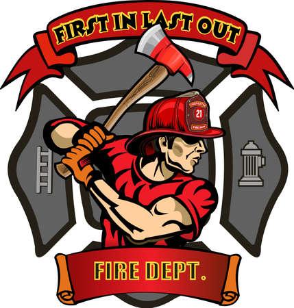 Fire Department Cross includes fireman in helmet with firefighter's axes Ilustração Vetorial
