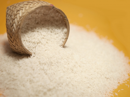 THAI RICE Organic ingredients for bread preparation with golden sunrise on backgroundStock Photo