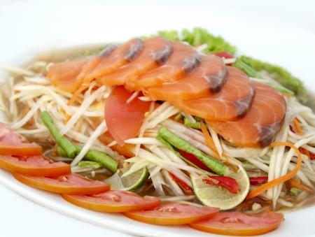 green papaya salad at thai food Stock Photo