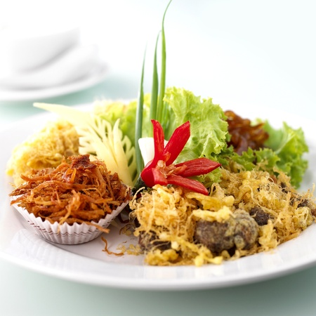 Authentic Thai food, name of Rice in ice water  Stock Photo   Stock Photo