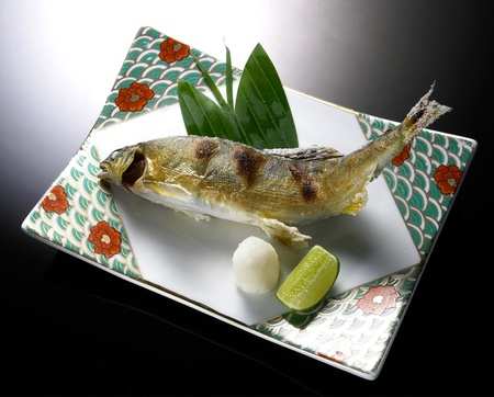 broiled pacific saury with salt, japanese cuisine close up