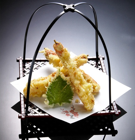 Japanese Cuisine - Tempura Shrimps (Deep Fried Shrimps) with Vegetables Stock Photo