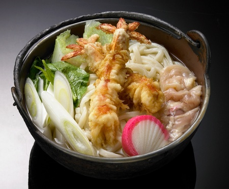 asia food: Japanese cuisine, Udon noodles with shrimp tempura