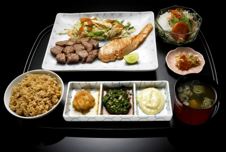 asia food: japanese food meal, bowl, rice, meat, dish, plate  with vegetable salad