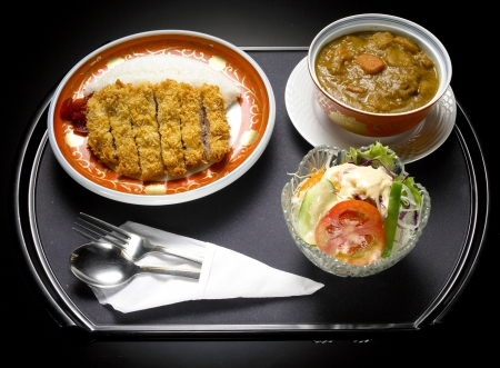japanese food fry pork curry with vegetable salad