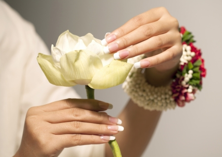white lotus flower, Nice hands with nail art
