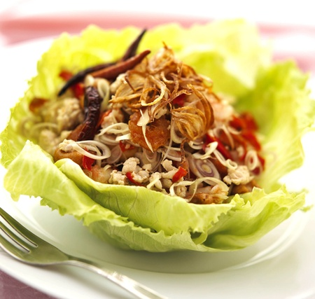 thai cuisine laab gai spicy minced chicken salad