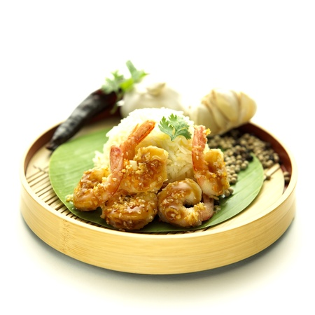 Spicy Deep Fried Prawns in a basket with rice