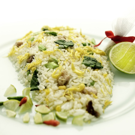 Thai shrimp fried rice old fashioned style thai food isolated Stock Photo