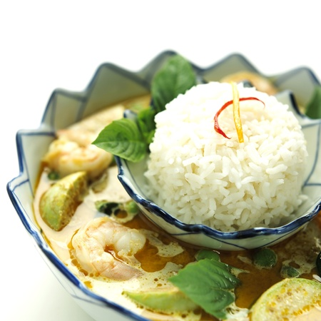 Shrimp green curry with rice Stock Photo