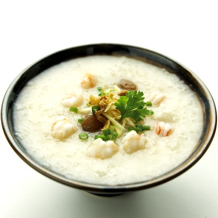 rice gruel with shrimp mixed Stock Photo