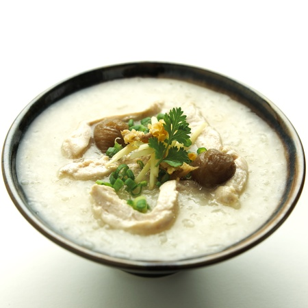 rice gruel with chicken mixed