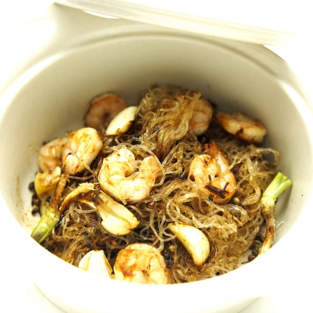 Baked Prawns with vermicelli and herb -  chinese style  Stock Photo