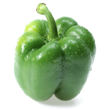 sweet green pepper isolated on white background
