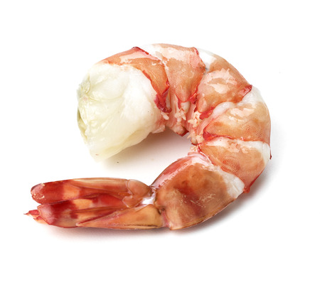 Shrimps. Prawns isolated on a White Background. Seafood Imagens