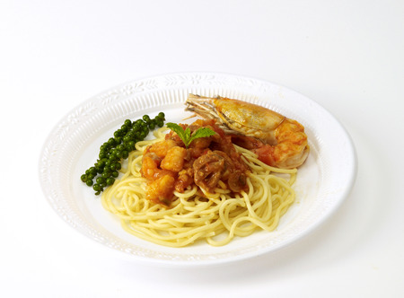 spaghetti bolognese isolated,food container,plastic