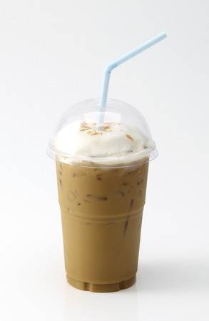 Iced coffee in takeaway cup on white background