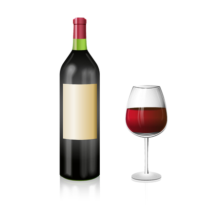 pinot grigio: A bottle of red wine with and elegant wineglass. Realistic vector illustration. Illustration