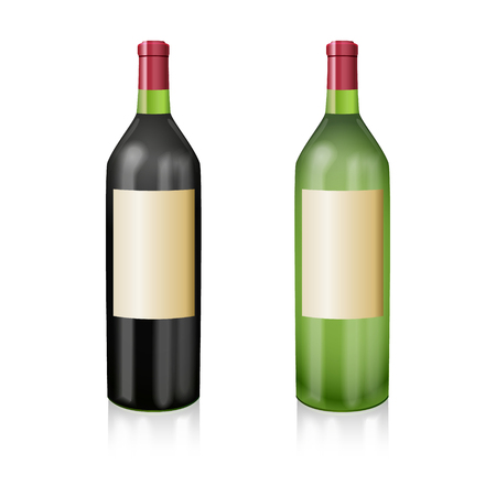 manner: Two bottles of wine red and white in a realistic manner. Vector illustration. Illustration
