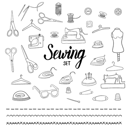 Sewing set with hand drawn elements and brushpen lettering sign. Vector illustration.