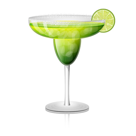 margarita: Juicy margarita drink cocktail in a rimmed class with a slice of lime fruit. Vector illustration.