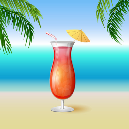 glass reflection: Juicy tequila sunrise drink cocktail in a tall glass with a striped straw on a tropical island background with palm trees and ocean view. Vector illustration.