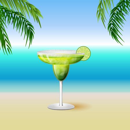 margarita drink: Juicy margarita drink cocktail in a rimmed class with a slice of lime fruit on a tropical island background with palm trees and ocean view. Vector illustration.