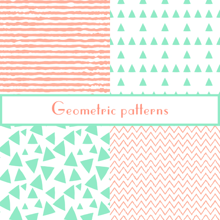 Geometric seamless pastel patterns with triangles and stripes for bolt fabric, textriles, paper wrapping. Vector illustration.