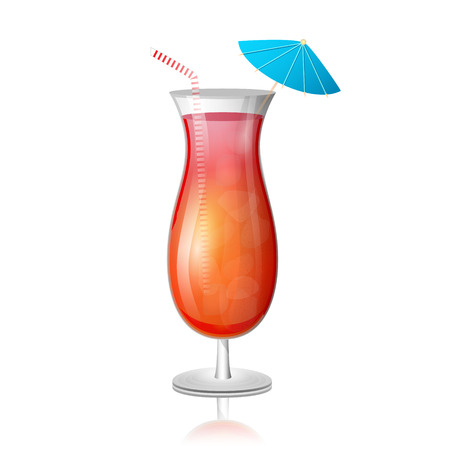 Juicy tequila sunrise drink cocktail in a tall glass with a striped straw and umbrella. Vector illustration.