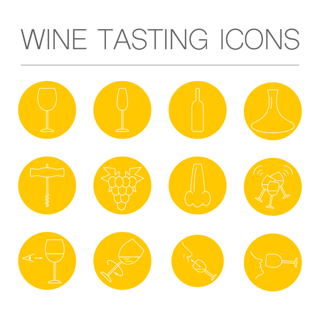 decanter: Wine tasting icons in linear geometric style