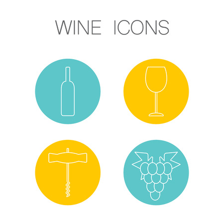 sommelier: Wine icons in linear geometric style