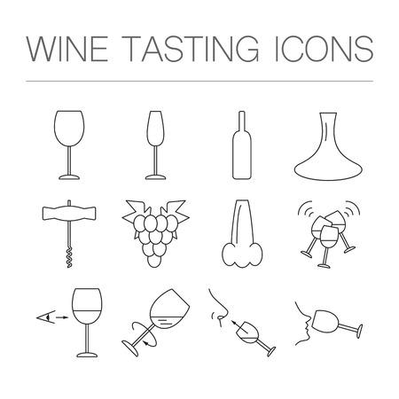 icônes de dégustation de vin dans un style géométrique linéaire