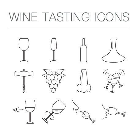 wine tasting: Wine tasting icons in linear geometric style