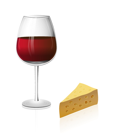 manner: A glass of red wine isolated on a white background with cheese in realistic manner with reflections and shiny highlights. Illustration