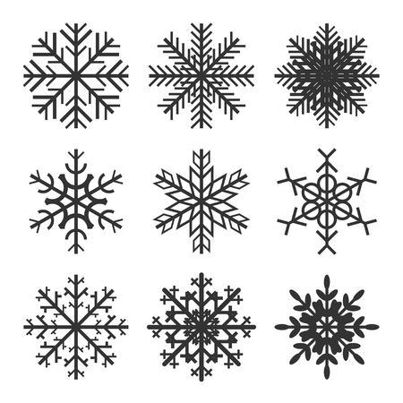 indicate: Set of geometric snowflakes with indicate patterns and crystal structure.