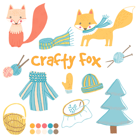 wonky: set with child foxes and crafty goods. Hand drawn set with knitting, embroidery and winter clothes. Illustration