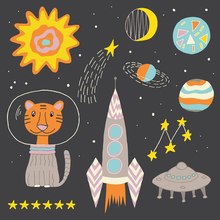 Outer space child geometric set with friendly tiger, sun, moon, planets, stars, space ship and a flying saucer. Suitable for posters, patterns, or web-design. Fully editable vector image.