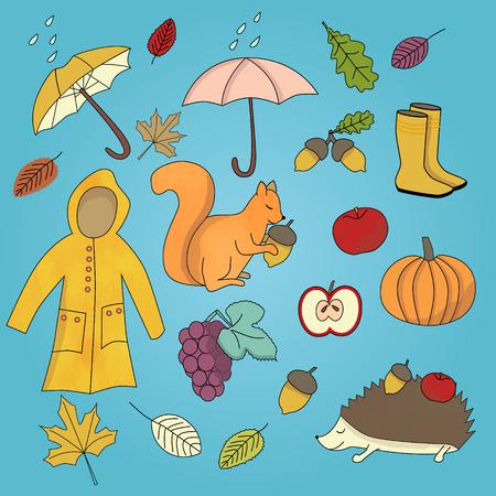 Fall autumn season set with squirell, pumkin and rainboots.