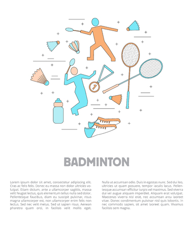 Set of badminton accessories and sport games inventory.