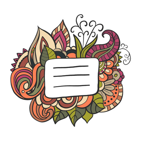 copybook: Notebook or copybook title badge. Doodle floral illustration.