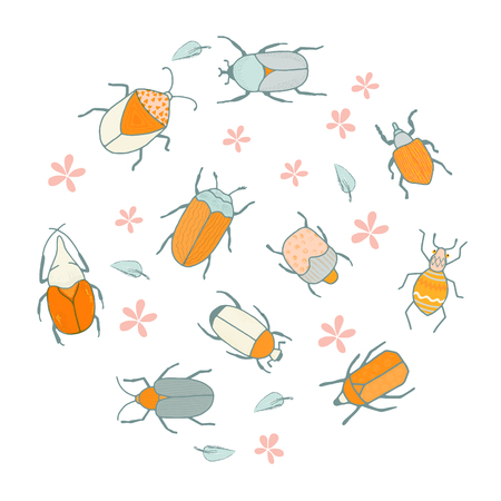 Decoration with cute bugs and flowers for a kids room or scrapbooking project