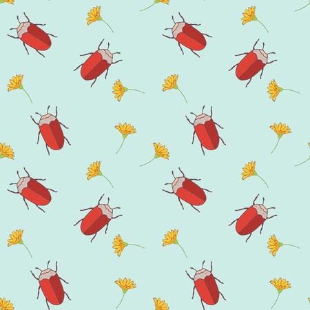 Seamless pattern with cut vector bugs and flowers for textile of paper