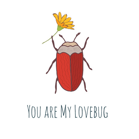 Cute hand drawn vector bug postcard for valentines day 向量圖像