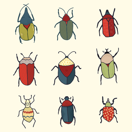 Hand drawn vector clipart set of whimsical cute bugs for scrapbooking or stickers