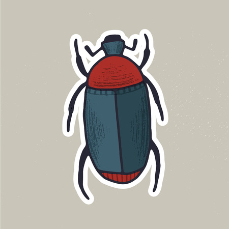 Cute hand drawn vector bug sticker for souvenirs or scrapbooking projects