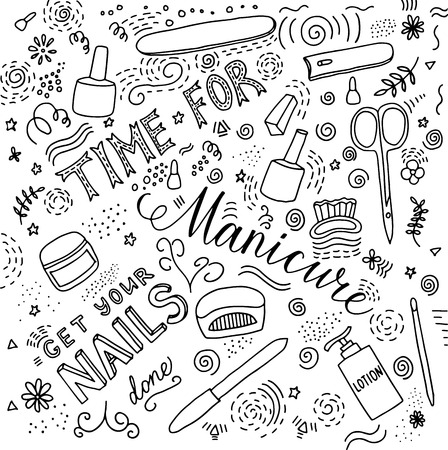 Time for manicure doodle lettering for poster or card Çizim