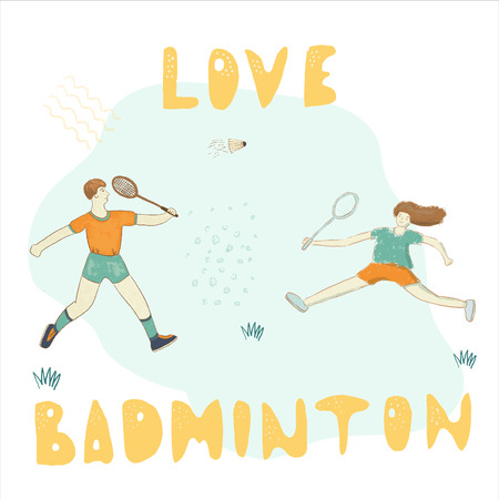 Badminton couple wisdom saying  hand drawn print hand lettering phrase and character. Vector illustration for sport inspirational poster, banner, print, t-shirt, card, sweatshirt,  championship. Çizim